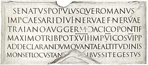 Trajan Inscription, Rome, Italy.